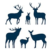 istock Deer silhouette set. Vector graphic 1183473651