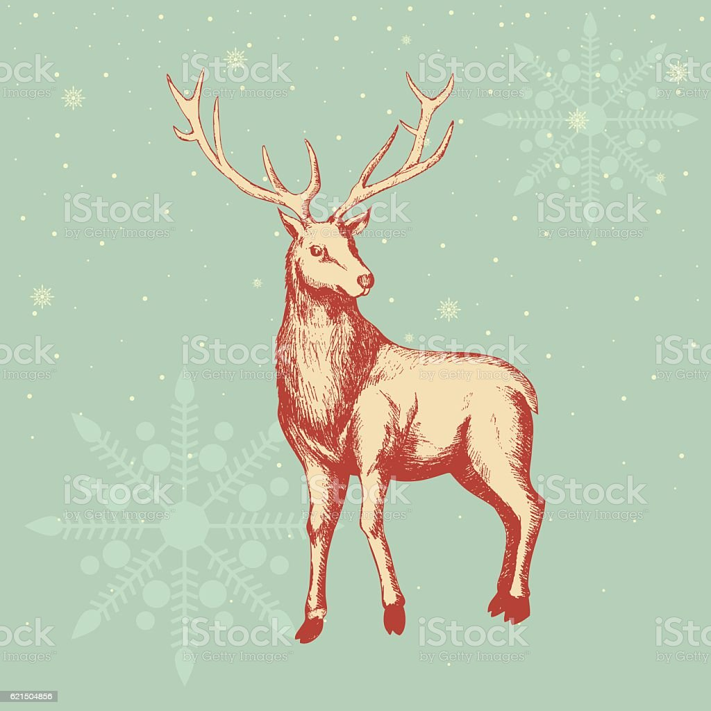Deer Sketch For Christmas Theme deer sketch for christmas theme – cliparts vectoriels et plus d'images de beauté de la nature libre de droits