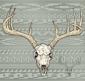this is a white tail deer skull with an Aztec pattern background, entire image is halftone screen except for large fill color areas, all vector, all the time.