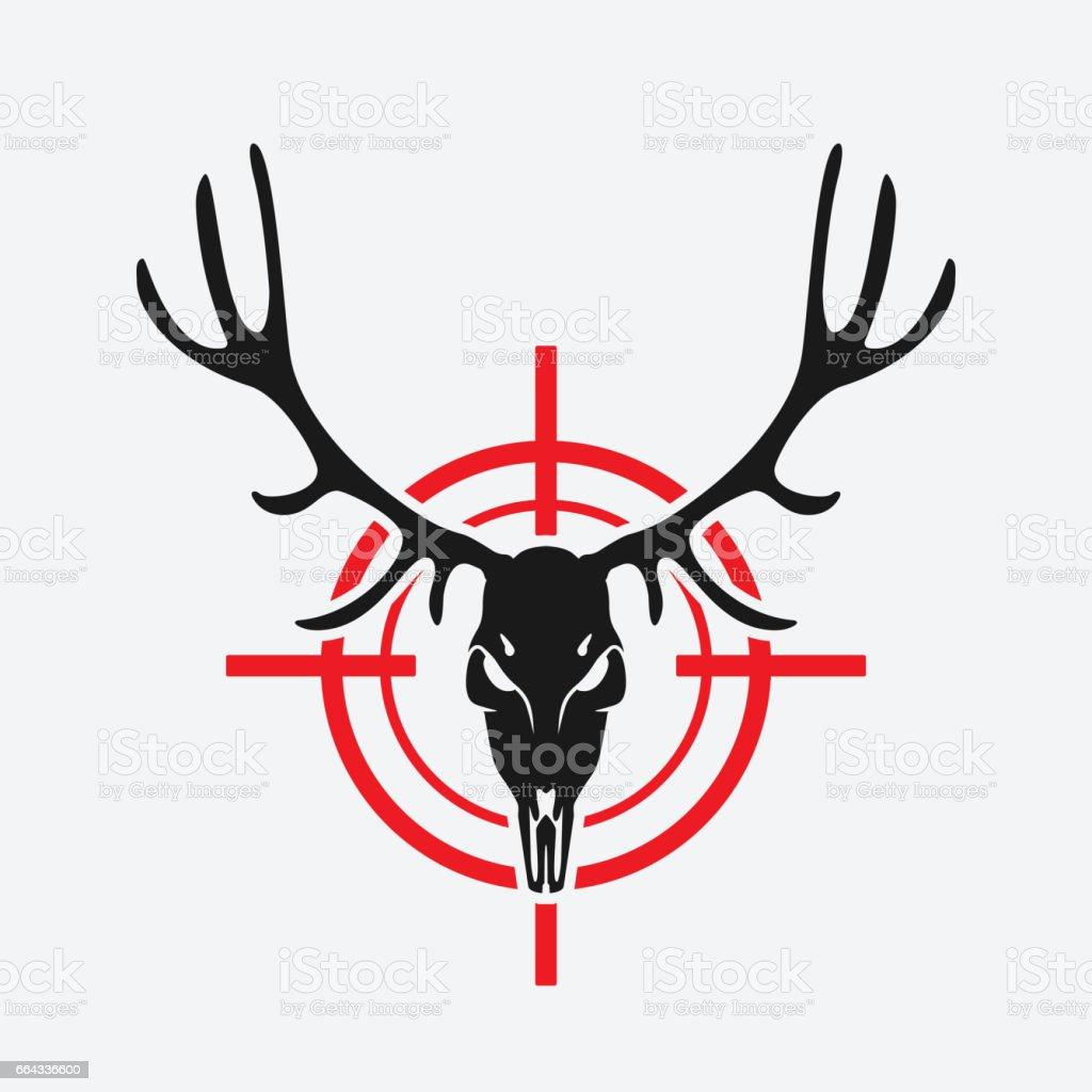 Ilustración de Cráneo De Ciervo En Rojo Blanco y más banco de ...