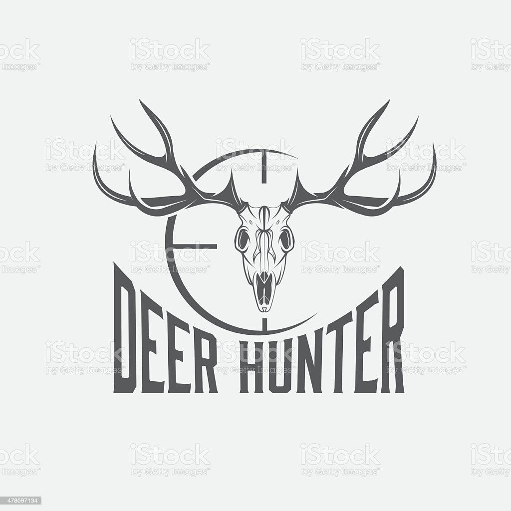deer skull with target vector design template stock vector art