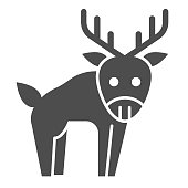 Deer solid icon. Horned wild forest animal silhouette. Animals vector design concept, glyph style pictogram on white background, use for web and app. Eps 10