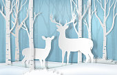 Deer standing in forest. Nature background  paper art style illustration