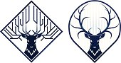 Deer head in two variants. No transparency used. Black color variant without gradient is also included.