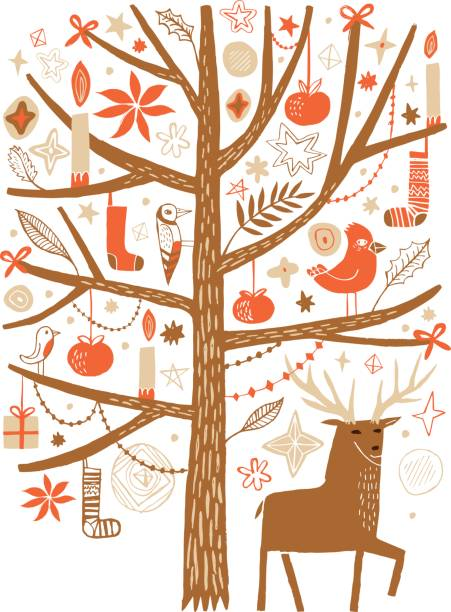 deer under the decorated festive tree - wildtier reise stock-grafiken, -clipart, -cartoons und -symbole