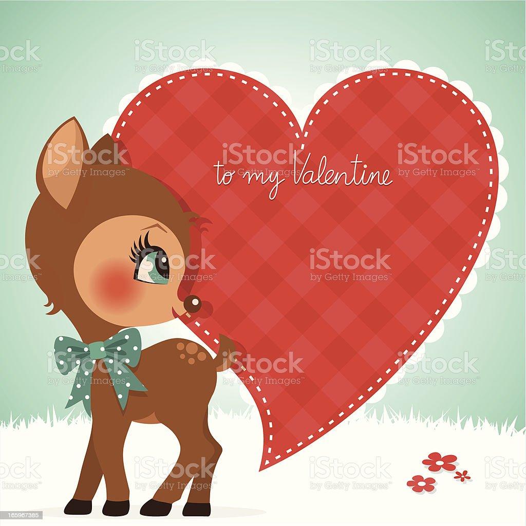 deer valentine card fawn cute vintage love  illustration vector royalty-free deer valentine card fawn cute vintage love illustration vector stock vector art & more images of animal