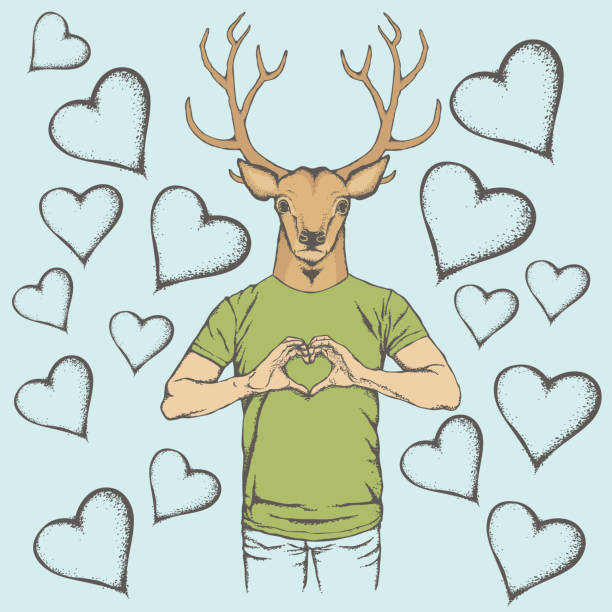 Deer Valentine day vector concept vector art illustration