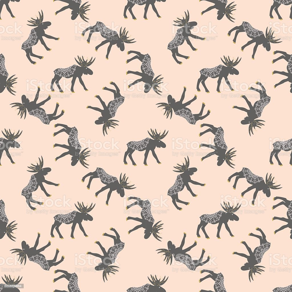 Deer vector seamless pattern with retro dots