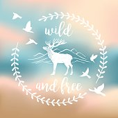 An original artwork vector illustration of a deer - wild nature label. This Square composition can be a travel postcard, invitation or flyer.