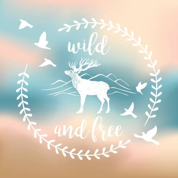 hirsch label wild und frei - design - wildtier reise stock-grafiken, -clipart, -cartoons und -symbole
