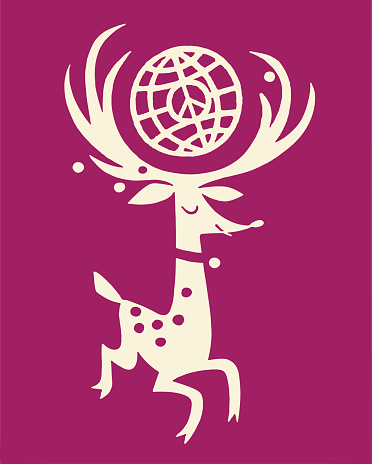 Deer With Antlers and Globe
