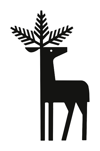 Deer with Evergreen Branches for Antlers