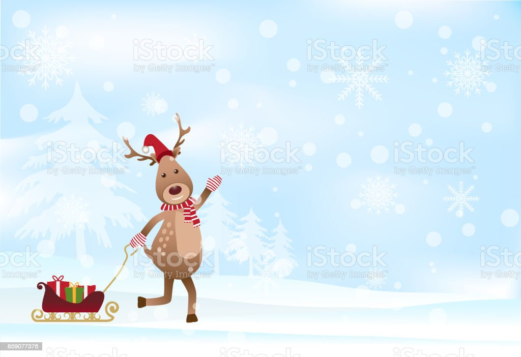 deer with gift boxes pulling sleigh with snow and snowflake