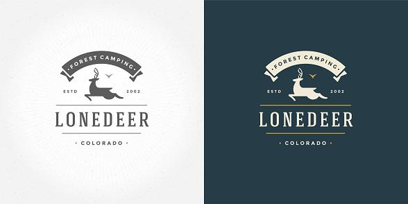 Deer with horns icon emblem vector illustration reindeer silhouette for shirt or print stamp