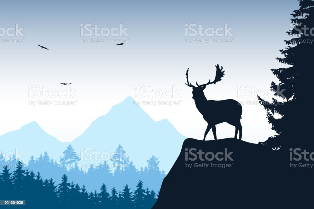 Deer with stags standing at the top of rock with mountains and forest in the background, under the sky with flying birds vector art illustration