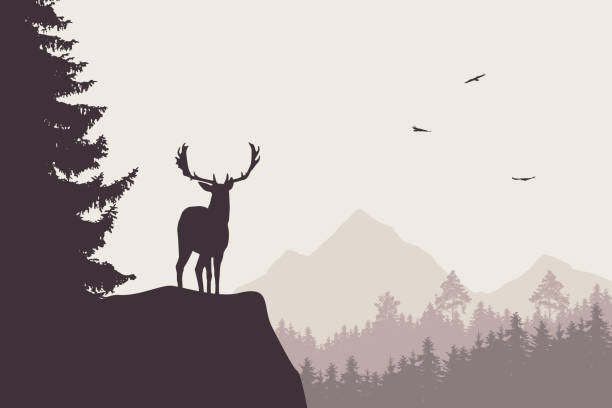 Deer with stags standing at the top of rock with mountains and forest in the background, under the sky with flying birds Deer with stags standing at the top of rock with mountains and forest in the background, under the sky with flying birds elk stock illustrations