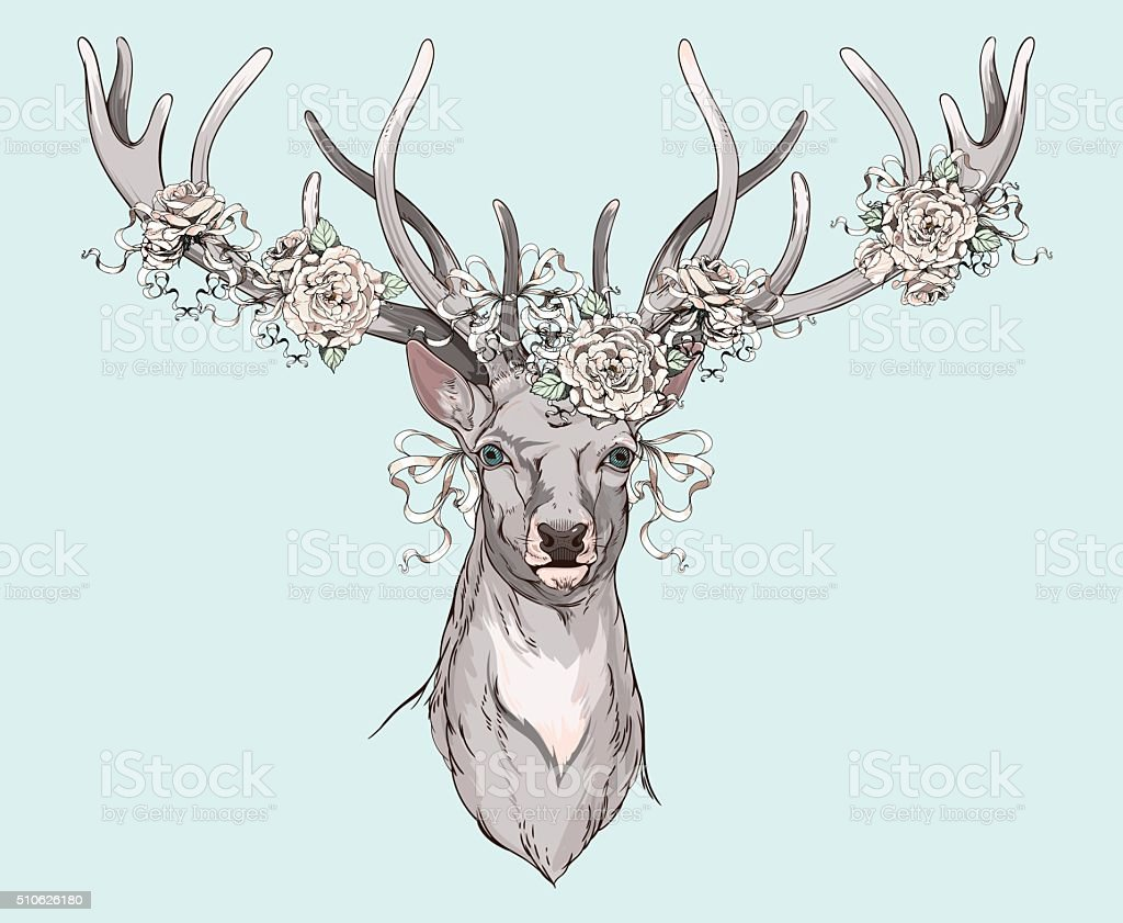 deer with wedding decorations vector art illustration