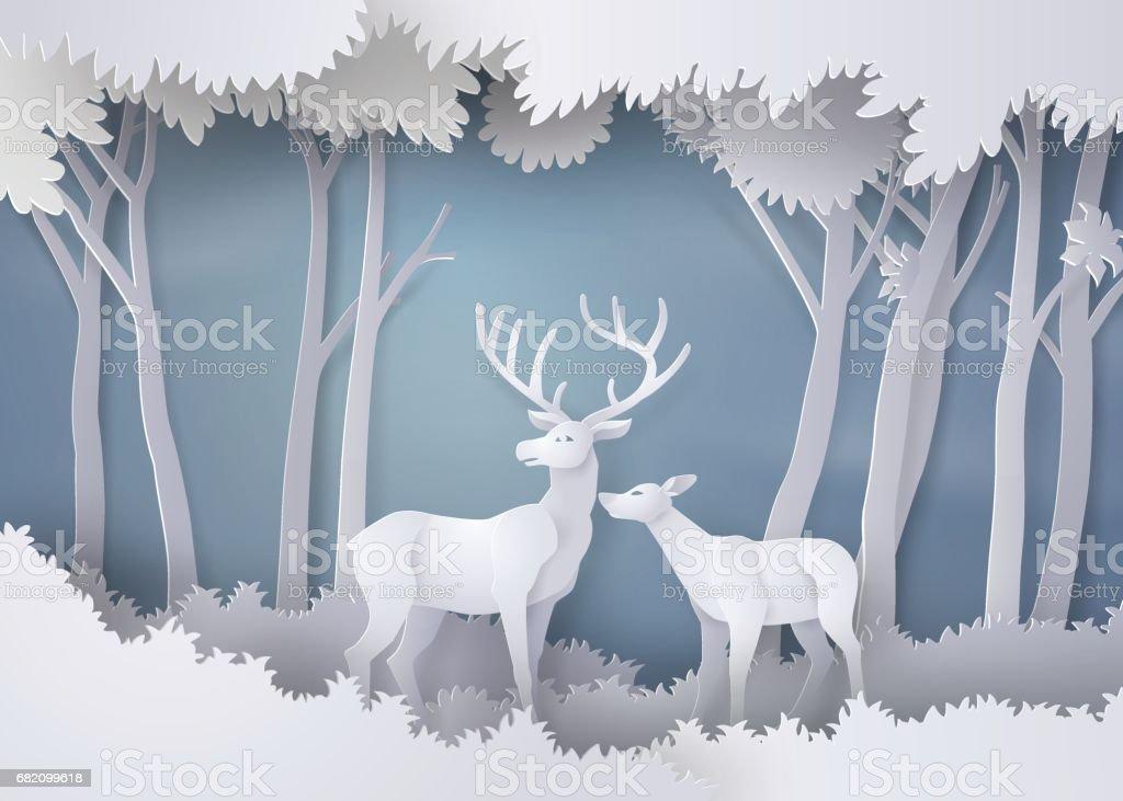 deers dans la forêt. - Illustration vectorielle