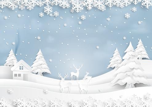 Deers joyful on snow and winter season with urban landscape paper art style