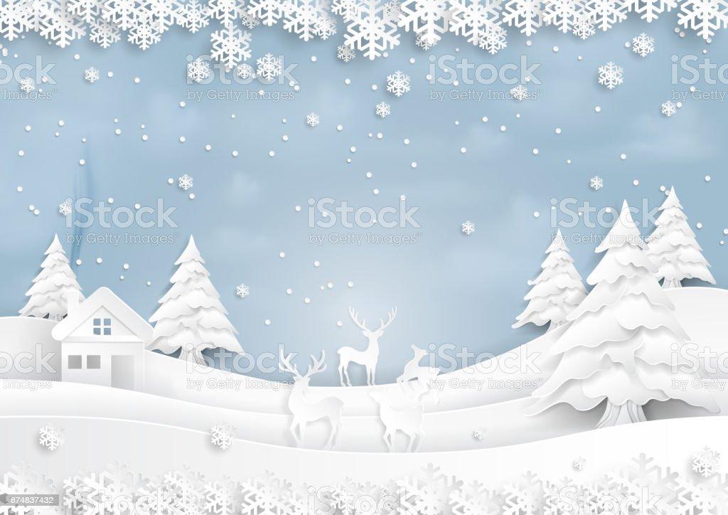 鹿都市風景と雪と冬のシーズンにうれしそうな紙のアート スタイル ベクターアートイラスト