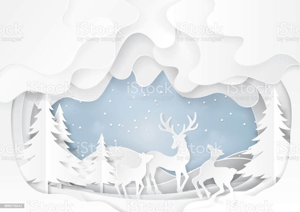 Deers on snow and winter background paper art vector art illustration