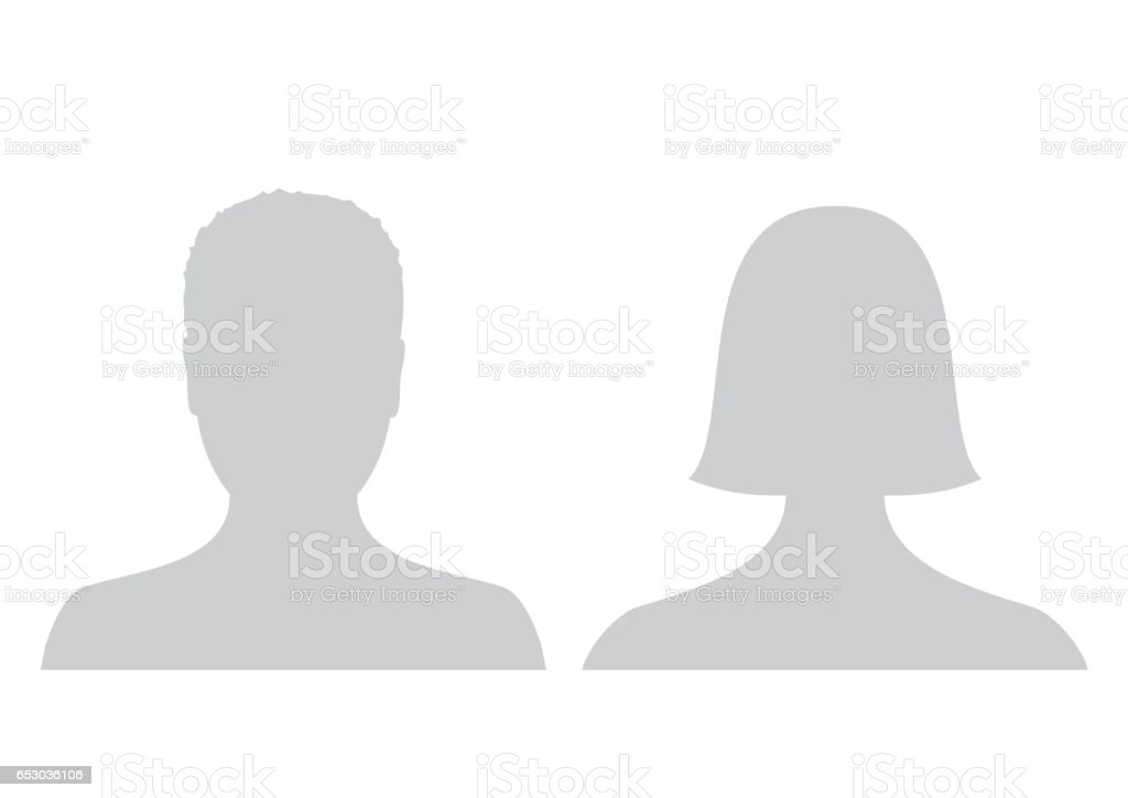 Default male and female avatar profile picture icon. Grey man and woman photo placeholder