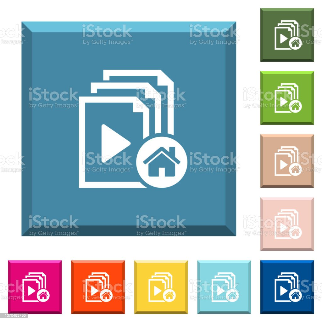 Default playlist white icons on edged square buttons vector art illustration