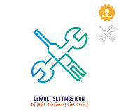 Default settings vector icon illustration for logo, emblem or symbol use. Part of continuous one line minimalistic drawing series. Design elements with editable gradient stroke.