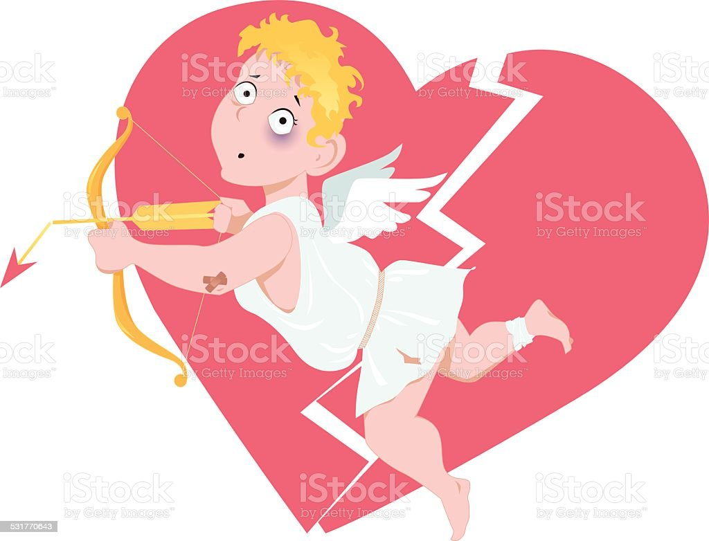 Defeated Cupid vector art illustration