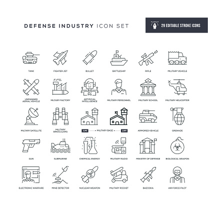 Defence Industry Editable Stroke Line Icons