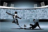 Defender slide tackling an attacker in soccer game