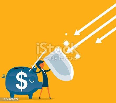 istock Defense of personal finance - Businesswoman 1254906877