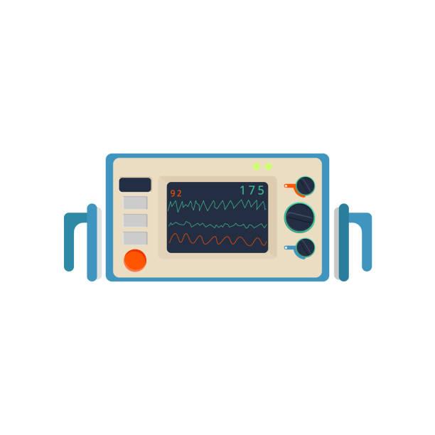 illustrazioni stock, clip art, cartoni animati e icone di tendenza di defibrillator in flat. device for restoring the heartbeat - elettrodo