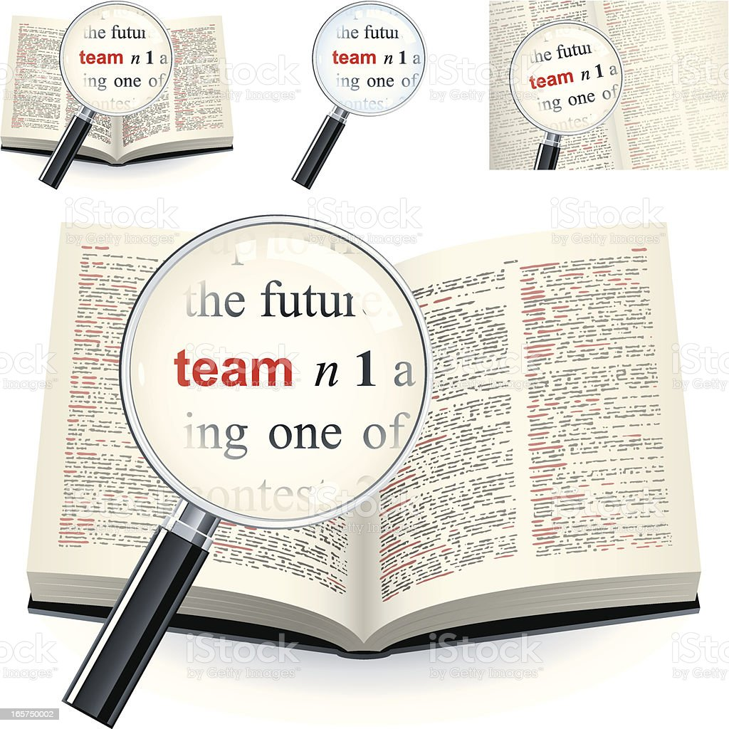 Definition of the word team in Dictionary vector art illustration
