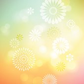 Abstract defocused background with graphic flowers.EPS 10 file with transparencies.File is layered with global colors.Only gradients used.More works like this linked below.http://www.myimagelinks.com/Lightboxes/spring_files/shapeimage_2.png