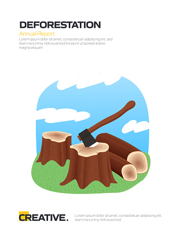 Deforestation Concept for Posters, Covers and Banners. Modern Flat Design Vector Illustration.