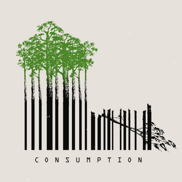 deforestation consumption Barcode Symbol für Konsum und Abholzung Amazonas Regenwald climate change stock illustrations