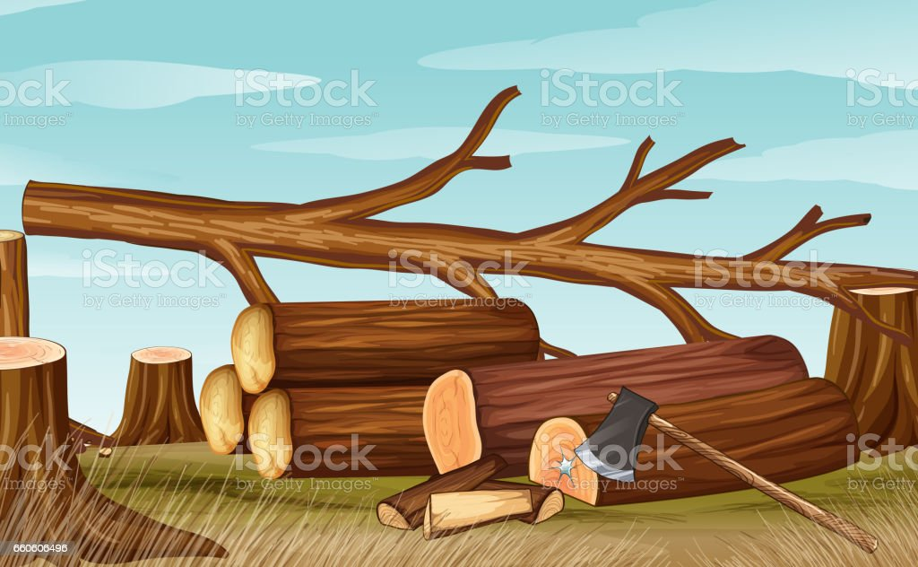 Deforestation scene with firewoods and axe royalty-free deforestation scene with firewoods and axe stock vector art & more images of art