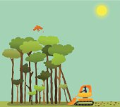 Bird disrupted by forest being bulldozed. Comes with high resolution JPEG, AI CS2 and AI8 EPS files.