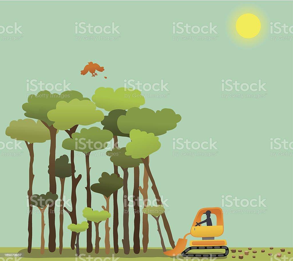 Deforestation vector art illustration