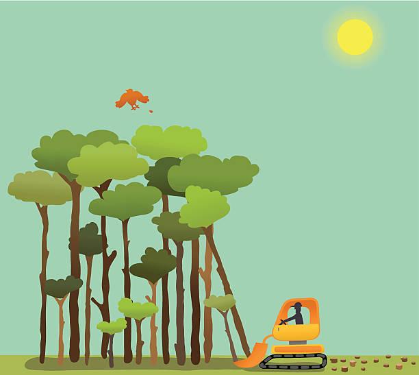вырубка леса - ущерб окружающей среде stock illustrations