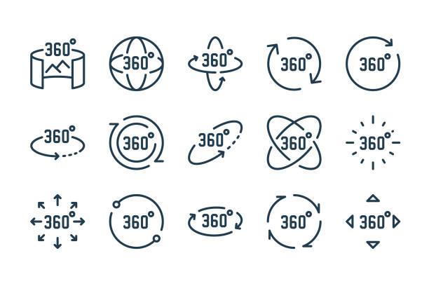 ilustraciones, imágenes clip art, dibujos animados e iconos de stock de conjunto de iconos de línea de realidad virtual y 360 grados. - 360