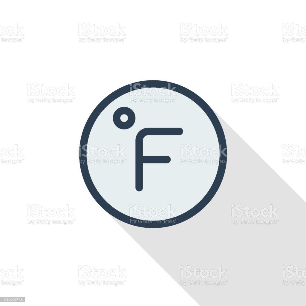 Degree Fahrenheit Thin Line Flat Color Icon Linear Vector Symbol