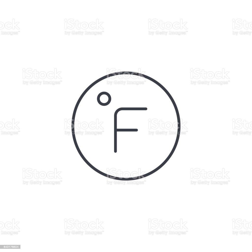 Degree Fahrenheit Thin Line Icon Linear Vector Symbol Stock Vector