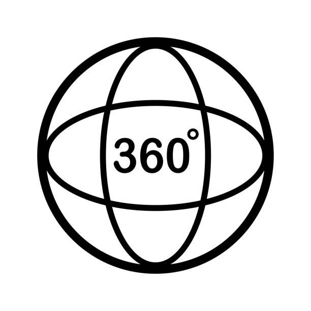 ilustraciones, imágenes clip art, dibujos animados e iconos de stock de icono de 360 grados. diseño del esquema. ilustración de vector - 360