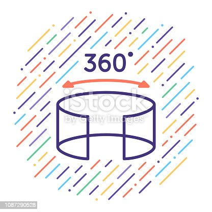 Line vector icon illustration of 360 degree look with abstract lines background.