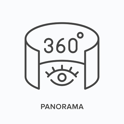 360 degree panorama flat line icon. Vector outline illustration of 3d tour. Augmented reality black thin linear pictogram.