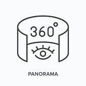 istock 360 degree panorama flat line icon. Vector outline illustration of 3d tour. Augmented reality black thin linear pictogram 1291179318