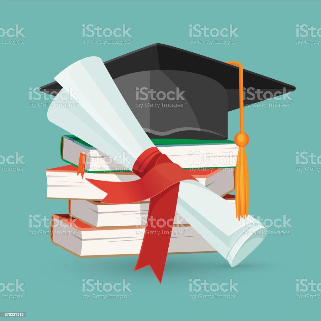 Degree scroll, pile of books and black graduation cap vector art illustration