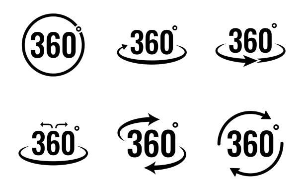 ilustraciones, imágenes clip art, dibujos animados e iconos de stock de conjunto de iconos de vista de 360 grados - ilustración vectorial . - 360